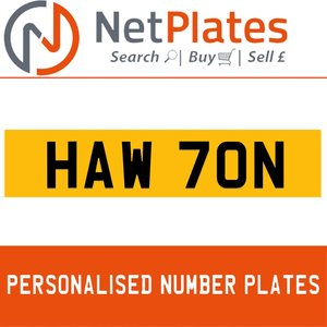 HAW 70N PERSONALISED PRIVATE CHERISHED DVLA NUMBER PLATE For Sale