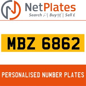 MBZ 6862PERSONALISED PRIVATE CHERISHED DVLA NUMBER PLATE For Sale
