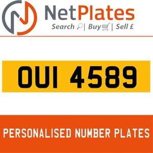OUI 4598 PERSONALISED PRIVATE CHERISHED DVLA NUMBER PLATE For Sale