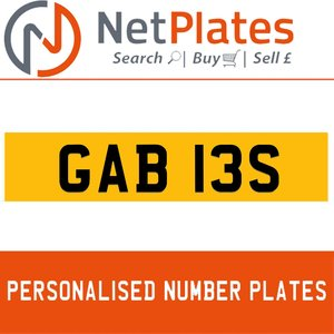 GAB 13S PERSONALISED PRIVATE CHERISHED DVLA NUMBER PLATE