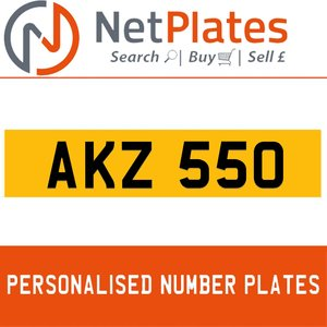 AKZ 550 PERSONALISED PRIVATE CHERISHED DVLA NUMBER PLATE For Sale