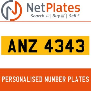 ANZ 4343 PERSONALISED PRIVATE CHERISHED DVLA NUMBER PLATE For Sale