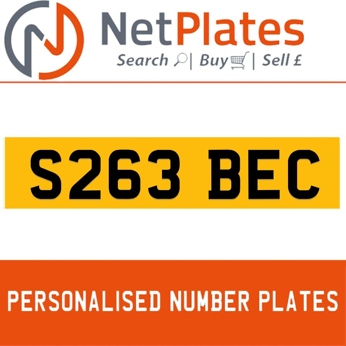 S263 BEC PERSONALISED PRIVATE CHERISHED DVLA NUMBER PLATE For Sale (picture 1 of 5)