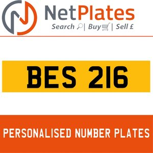 BES 216 PERSONALISED PRIVATE CHERISHED DVLA NUMBER PLATE For Sale