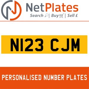 N123 CJM PERSONALISED PRIVATE CHERISHED DVLA NUMBER PLATE For Sale