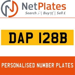 DAP 128B PERSONALISED PRIVATE CHERISHED DVLA NUMBER PLATE For Sale