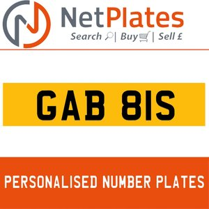 GAB 81S PERSONALISED PRIVATE CHERISHED DVLA NUMBER PLATE
