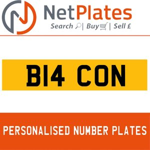 B14 CON PERSONALISED PRIVATE CHERISHED DVLA NUMBER PLATE For Sale