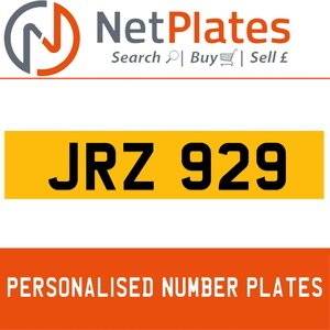 JRZ 929 PERSONALISED PRIVATE CHERISHED DVLA NUMBER PLATE For Sale