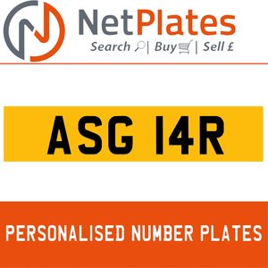 ASG 14R PERSONALISED PRIVATE CHERISHED DVLA NUMBER PLATE