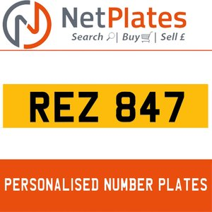 REZ 847 PERSONALISED PRIVATE CHERISHED DVLA NUMBER PLATE For Sale