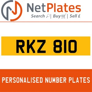 RKZ 810 PERSONALISED PRIVATE CHERISHED DVLA NUMBER PLATE For Sale