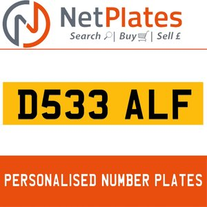D533 ALF PERSONALISED PRIVATE CHERISHED DVLA NUMBER PLATE