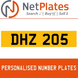 DHZ 205 PERSONALISED PRIVATE CHERISHED DVLA NUMBER PLATE