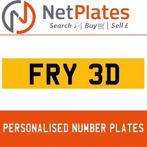 FRY 3D PERSONALISED PRIVATE CHERISHED DVLA NUMBER PLATE For Sale