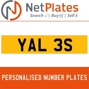YAL 3S PERSONALISED PRIVATE CHERISHED DVLA NUMBER PLATE