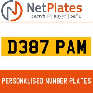 D387 PAM PERSONALISED PRIVATE CHERISHED DVLA NUMBER PLATE For Sale