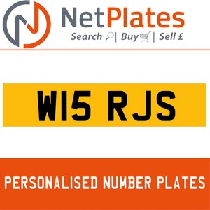W15 RJS PERSONALISED PRIVATE CHERISHED DVLA NUMBER PLATE For Sale