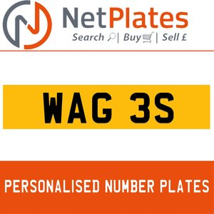 WAG 3S PERSONALISED PRIVATE CHERISHED DVLA NUMBER PLATE For Sale