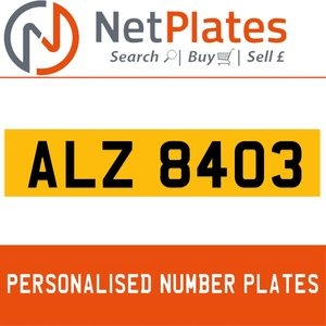 ALZ 8403 PERSONALISED PRIVATE CHERISHED DVLA NUMBER PLATE For Sale