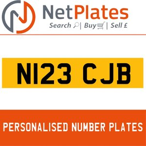N123 CJB PERSONALISED PRIVATE CHERISHED DVLA NUMBER PLATE For Sale