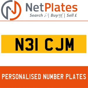 N31 CJM PERSONALISED PRIVATE CHERISHED DVLA NUMBER PLATE For Sale