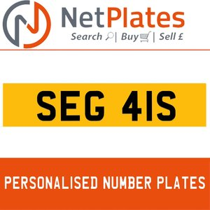 SEG 41S PERSONALISED PRIVATE CHERISHED DVLA NUMBER PLATE