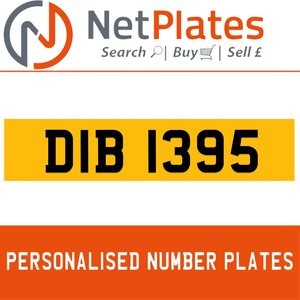 DIB 1395 PERSONALISED PRIVATE CHERISHED DVLA NUMBER PLATE For Sale