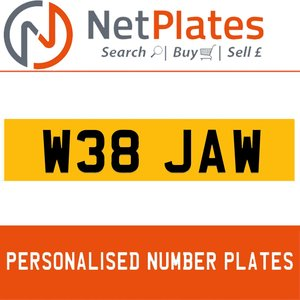 W38 JAW PERSONALISED PRIVATE CHERISHED DVLA NUMBER PLATE