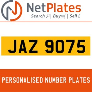 JAZ 9075 PERSONALISED PRIVATE CHERISHED DVLA NUMBER PLATE For Sale