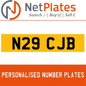 N29 CJB PERSONALISED PRIVATE CHERISHED DVLA NUMBER PLATE For Sale