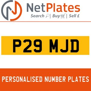 P29 MJD PERSONALISED PRIVATE CHERISHED DVLA NUMBER PLATE For Sale