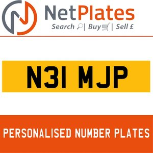 N31 MJP PERSONALISED PRIVATE CHERISHED DVLA NUMBER PLATE For Sale