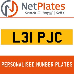 L31 PJC PERSONALISED PRIVATE CHERISHED DVLA NUMBER PLATE For Sale