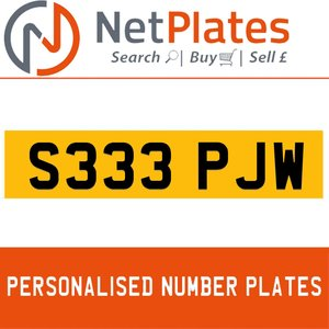 S333 PJW PERSONALISED PRIVATE CHERISHED DVLA NUMBER PLATE For Sale