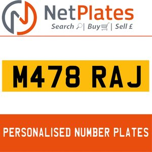 M478 RAJ  PERSONALISED PRIVATE CHERISHED DVLA NUMBER PLATE For Sale