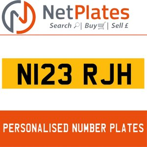 N123 RJH PERSONALISED PRIVATE CHERISHED DVLA NUMBER PLATE For Sale