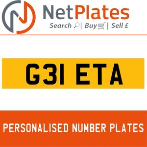 G31 ETA PERSONALISED PRIVATE CHERISHED DVLA NUMBER PLATE For Sale