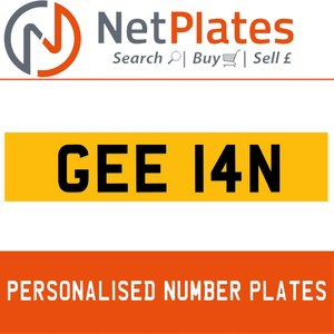 GEE 14N PERSONALISED PRIVATE CHERISHED DVLA NUMBER PLATE