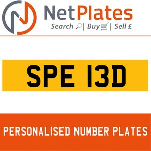 SPE 13D PERSONALISED PRIVATE CHERISHED DVLA NUMBER PLATE For Sale