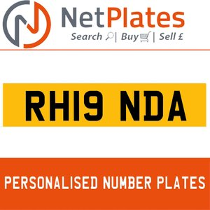 RH19 NDA PERSONALISED PRIVATE CHERISHED DVLA NUMBER PLATE For Sale