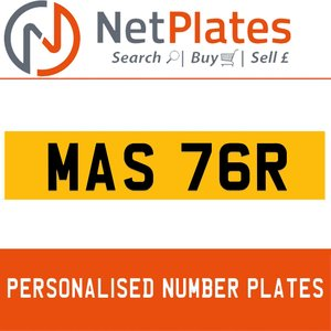 MAS 76R PERSONALISED PRIVATE CHERISHED DVLA NUMBER PLATE For Sale