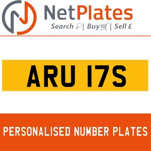 ARU 17S PERSONALISED PRIVATE CHERISHED DVLA NUMBER PLATE