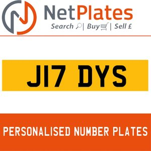 J17 DYS PERSONALISED PRIVATE CHERISHED DVLA NUMBER PLATE