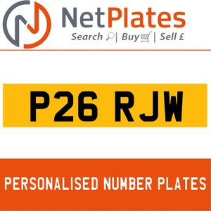 P26 RJW PERSONALISED PRIVATE CHERISHED DVLA NUMBER PLATE For Sale