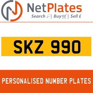 SKZ 990 PERSONALISED PRIVATE CHERISHED DVLA NUMBER PLATE