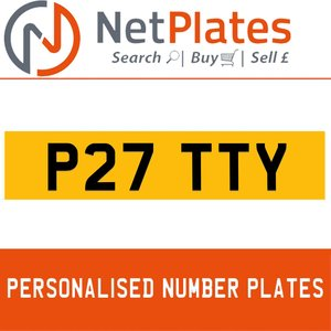P27 TTY PERSONALISED PRIVATE CHERISHED DVLA NUMBER PLATE For Sale