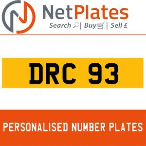 DRC 93 PERSONALISED PRIVATE CHERISHED DVLA NUMBER PLATE For Sale