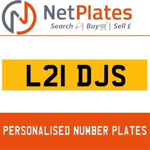 L21 DJS PERSONALISED PRIVATE CHERISHED DVLA NUMBER PLATE For Sale