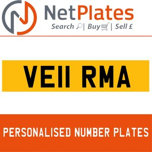 VE11 RMA PERSONALISED PRIVATE CHERISHED DVLA NUMBER PLATE For Sale